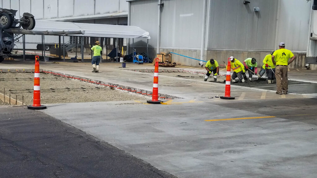 Fresh concrete being placed at a distribution center